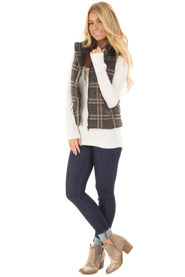 Charcoal and Taupe Plaid Padded Vest front full body