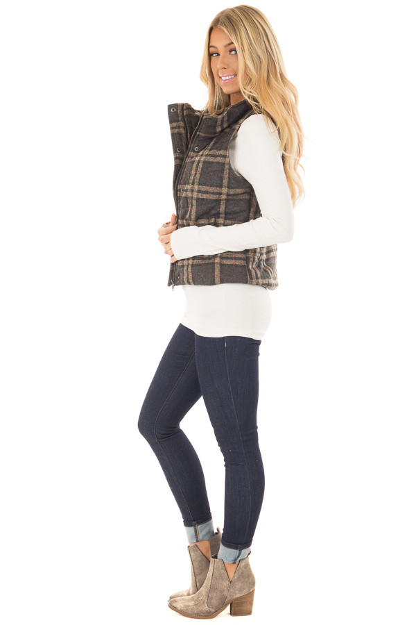 Charcoal and Taupe Plaid Padded Vest side full body