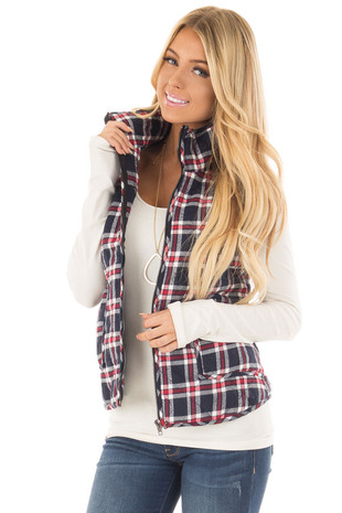 Navy, Red and White Plaid High Neck Vest with Pockets front close up