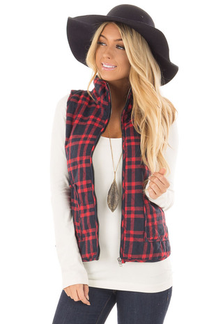 Navy and Red Plaid High Neck Vest with Pockets front closeup