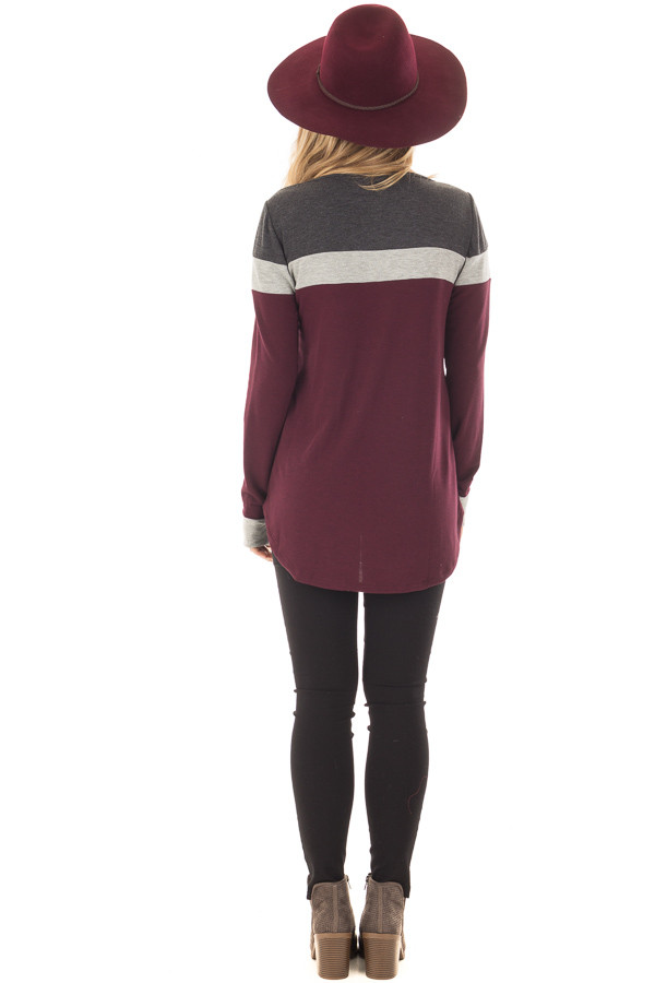 Burgundy and Charcoal Color Block Long Sleeve Top back full body