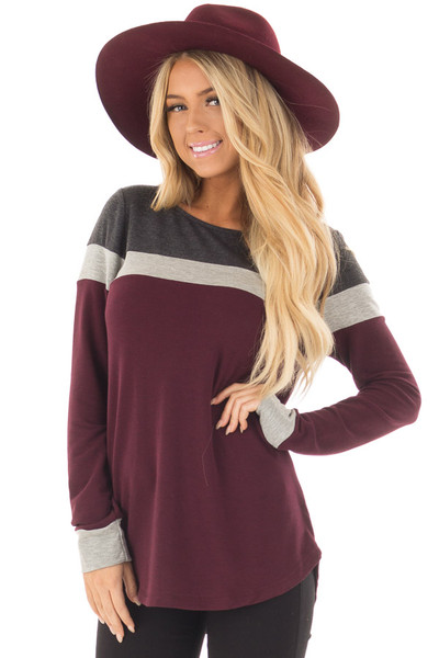 Burgundy and Charcoal Color Block Long Sleeve Top front closeup