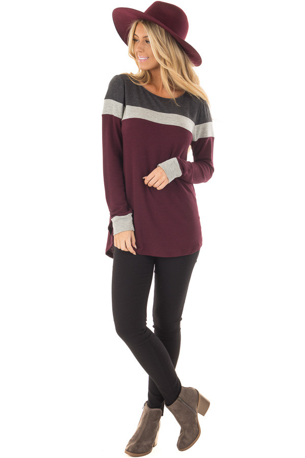 Burgundy and Charcoal Color Block Long Sleeve Top front full body