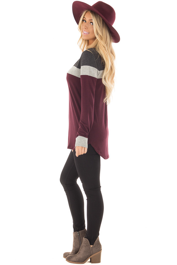 Burgundy and Charcoal Color Block Long Sleeve Top side full body