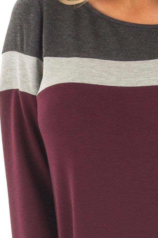 Burgundy and Charcoal Color Block Long Sleeve Top front detail