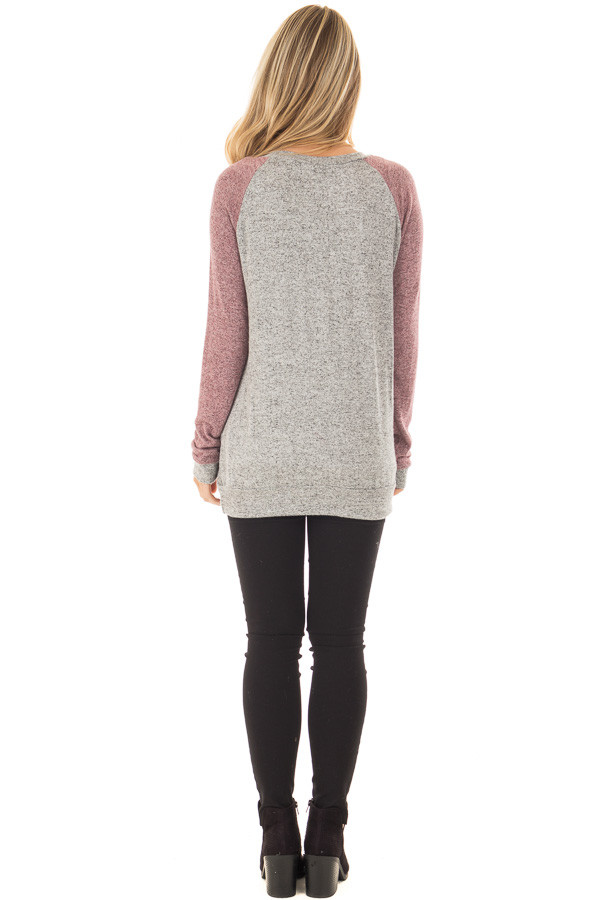 Heather Grey and Plum Long Sleeve Raglan Top back full body