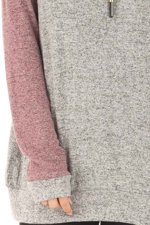 Heather Grey and Plum Long Sleeve Raglan Top front detail