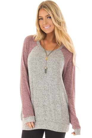 Heather Grey and Plum Long Sleeve Raglan Top front closeup