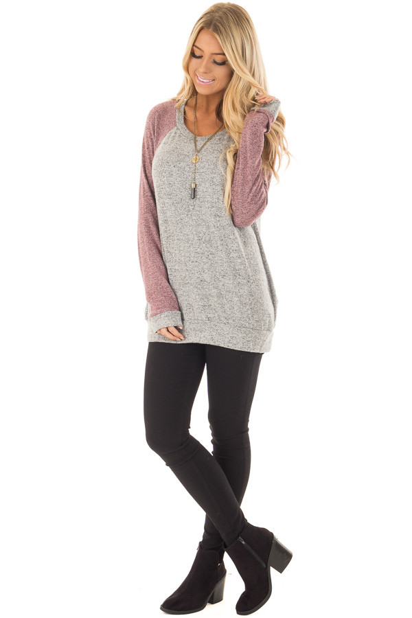 Heather Grey and Plum Long Sleeve Raglan Top front full body
