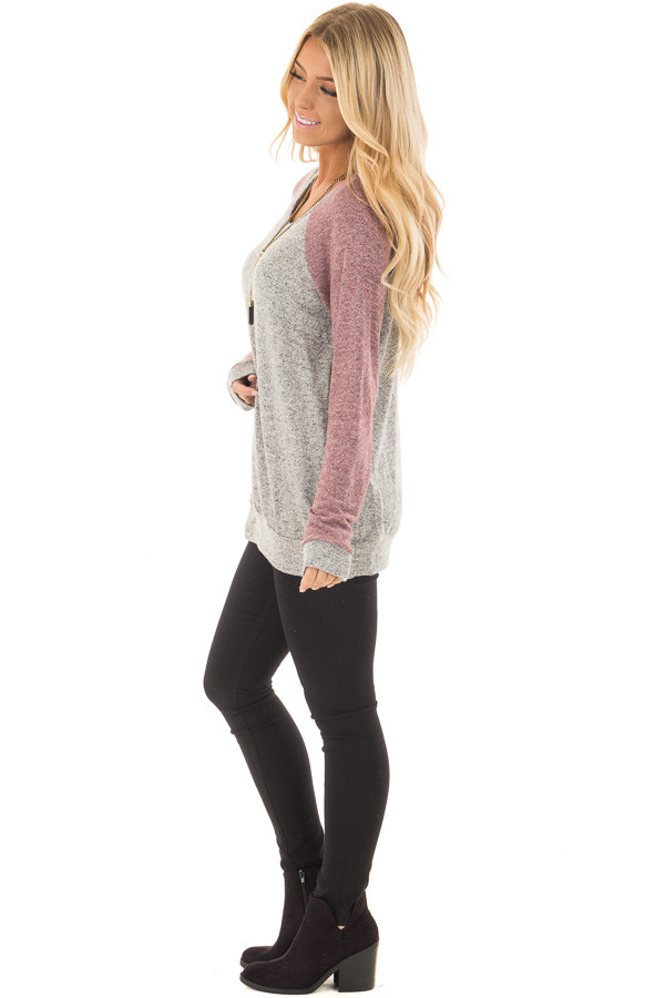 Heather Grey and Plum Long Sleeve Raglan Top side full body