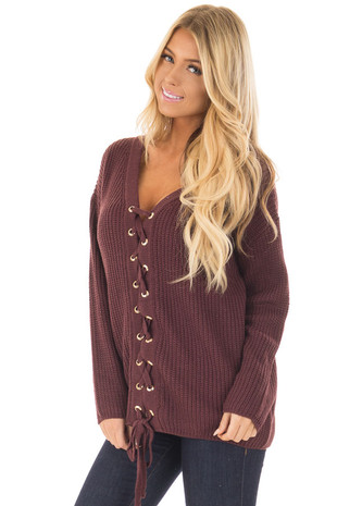Raisin V Neck Sweater with Lace Up Front front close up