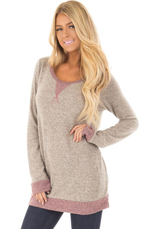 Taupe and Mauve Long Sleeve Top front closeup