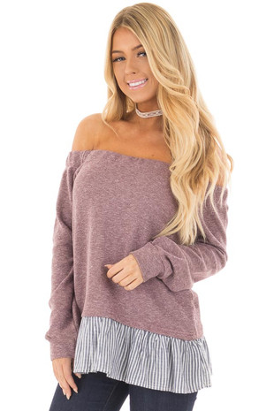Plum Knit Off Shoulder Top with Striped Peplum Trim front closeup