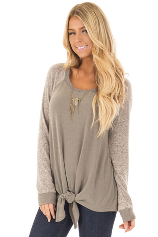 Olive and Taupe Long Sleeve Raglan Top with Front Tie front closeup