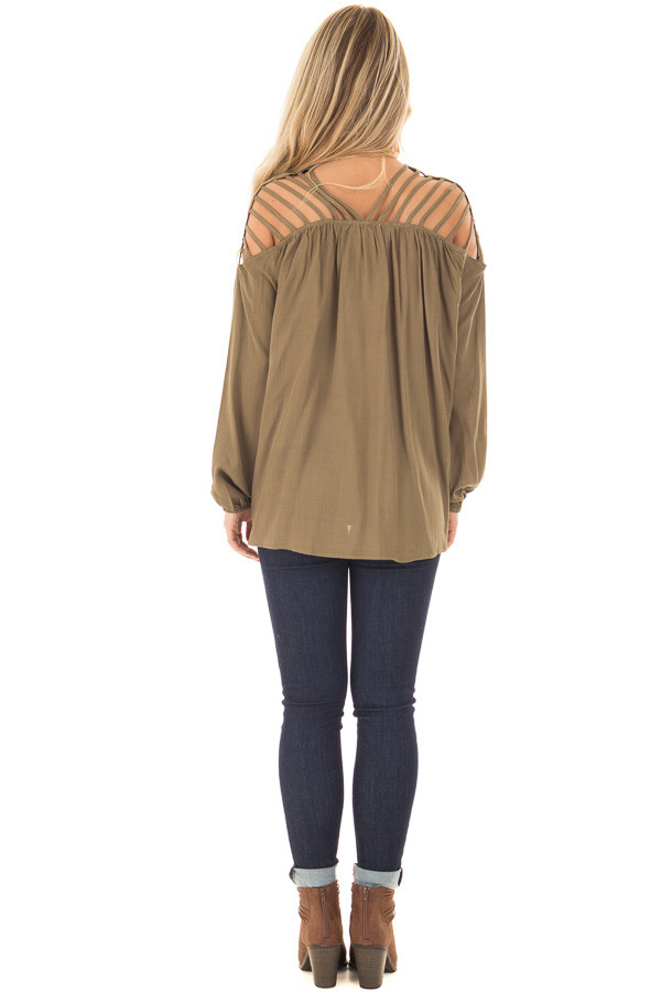 Olive Long Sleeve Top with Caged Neckline back full body
