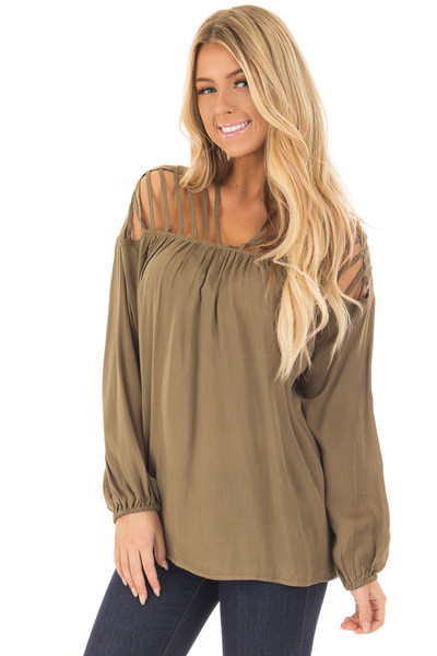 Olive Long Sleeve Top with Caged Neckline front close up