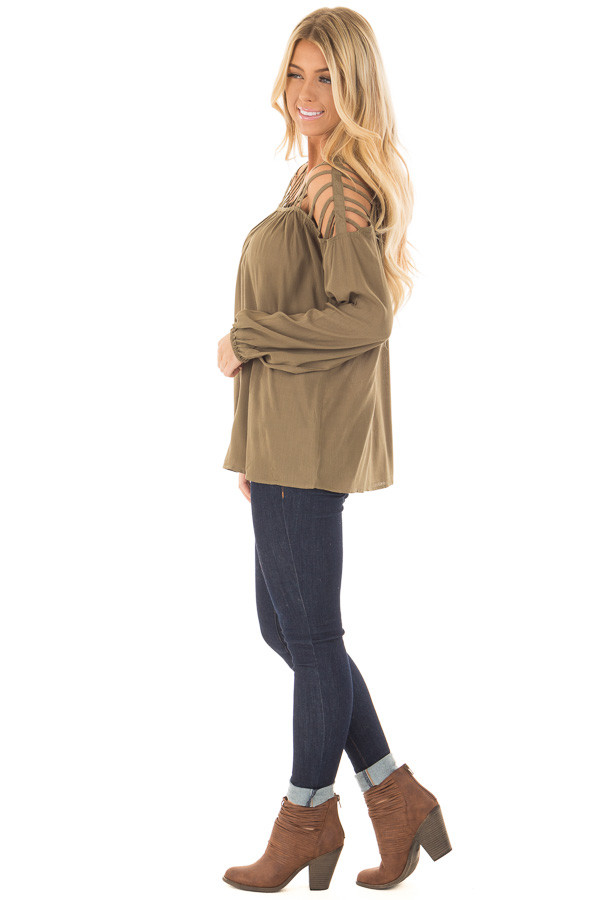Olive Long Sleeve Top with Caged Neckline side full body