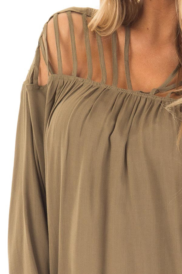 Olive Long Sleeve Top with Caged Neckline detail