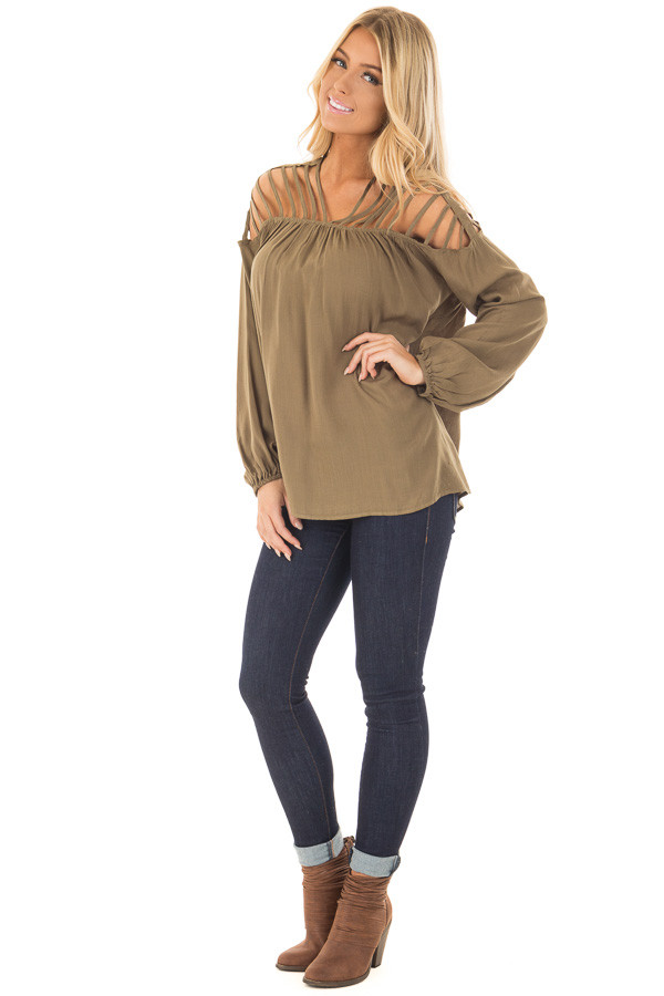 Olive Long Sleeve Top with Caged Neckline front full body