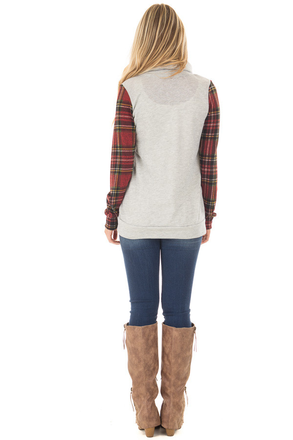 Heather Grey Cowl Neck Top with Burgundy Plaid Contrast back full body