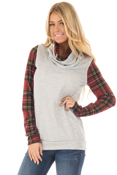 Heather Grey Cowl Neck Top with Burgundy Plaid Contrast front close up