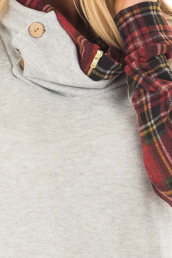 Heather Grey Cowl Neck Top with Burgundy Plaid Contrast detail