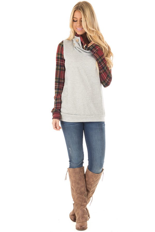 Heather Grey Cowl Neck Top with Burgundy Plaid Contrast front full body