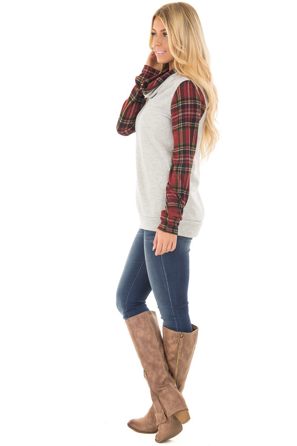 Heather Grey Cowl Neck Top with Burgundy Plaid Contrast side full body