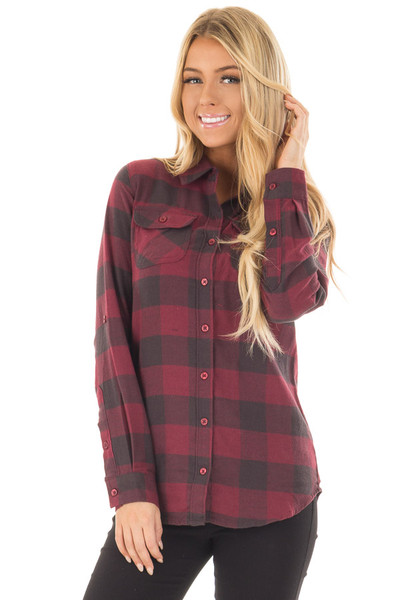 Burgundy Plaid Roll Up Long Sleeve Top front close up