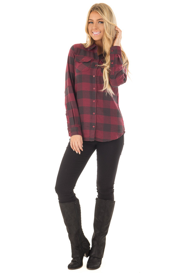 Burgundy Plaid Roll Up Long Sleeve Top front full body