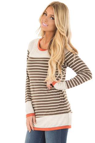 Olive and Taupe Striped Long Sleeve Top front close up