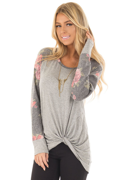 Heather Grey Floral Print Raglan Top with Front Twist front close up