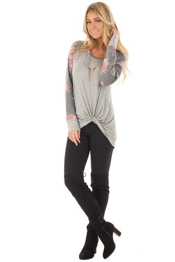 Heather Grey Floral Print Raglan Top with Front Twist front full body