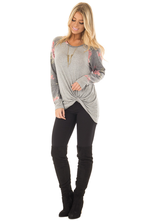 Heather Grey Floral Print Raglan Top with Front Twist back full body