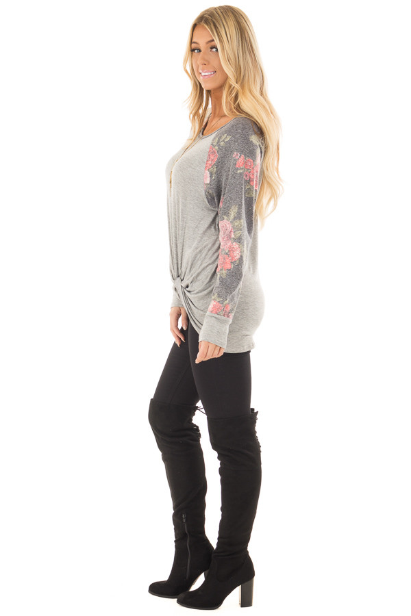 Heather Grey Floral Print Raglan Top with Front Twist side full body