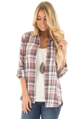 Dark Mauve and Ivory Plaid Button Up Top front close up
