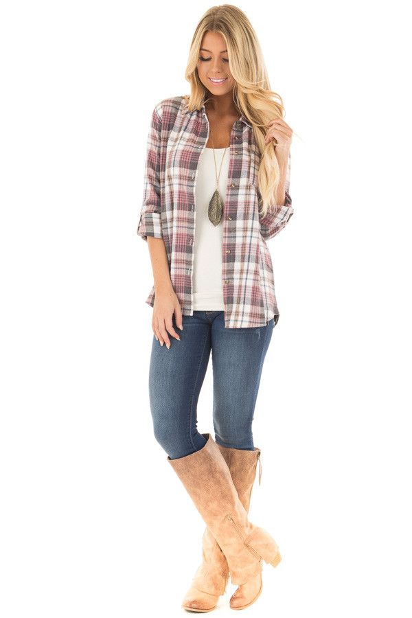 Dark Mauve and Ivory Plaid Button Up Top front full body