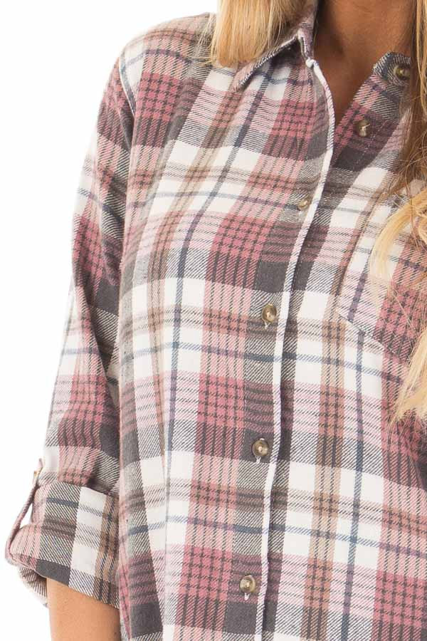 Dark Mauve and Ivory Plaid Button Up Top detail