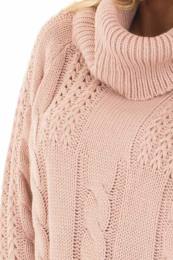 Mauve Long Sleeve Cowl Neck Cable Knit Sweater Lime Lush