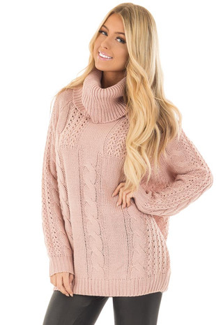 Mauve Long Sleeve Cowl Neck Cable Knit Sweater front close up