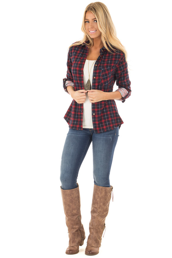 Burgundy and Navy Plaid Soft Top with Faux Fur Lining front full body