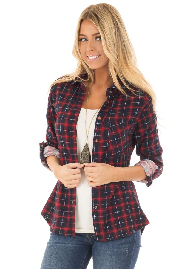 Burgundy and Navy Plaid Soft Top with Faux Fur Lining front close up
