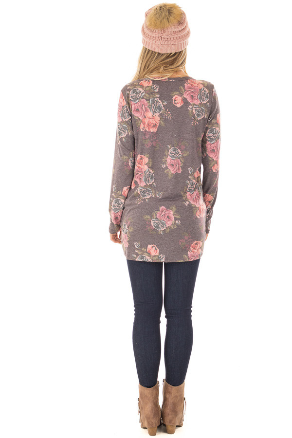 Charcoal Floral Print Long Sleeve Top with Front Twist back full body