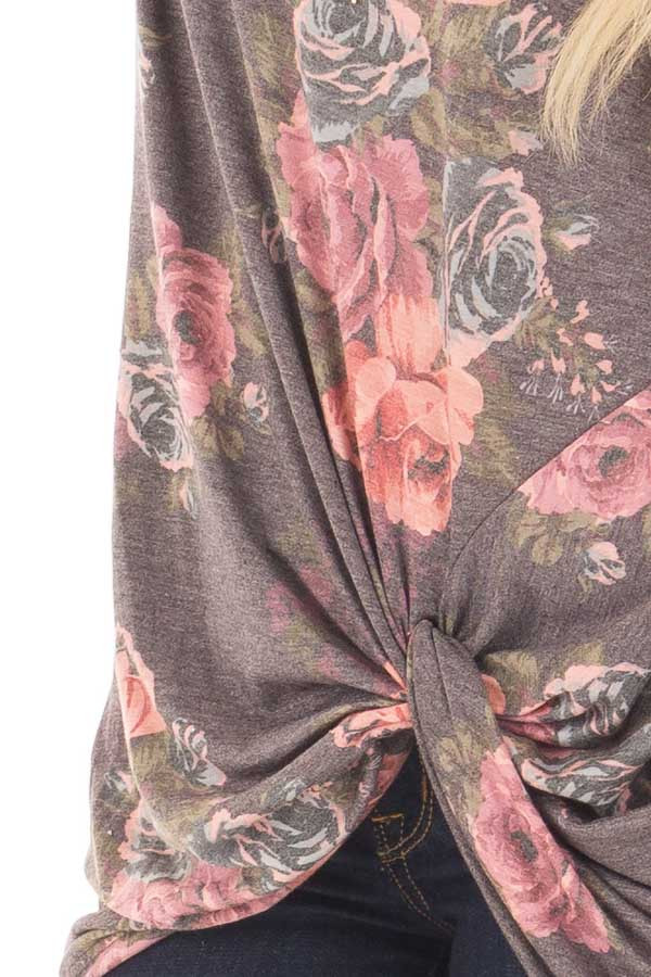 Charcoal Floral Print Long Sleeve Top with Front Twist detail