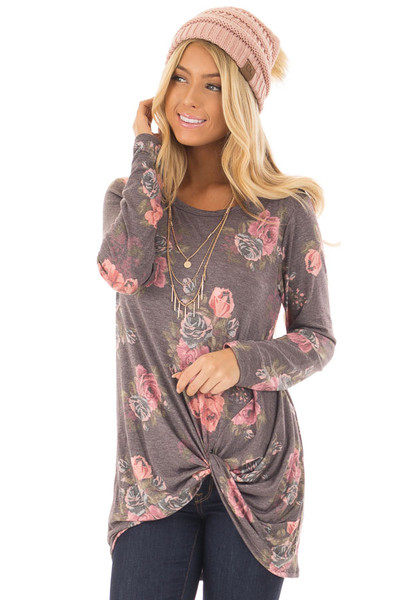 Charcoal Floral Print Long Sleeve Top with Front Twist front close up