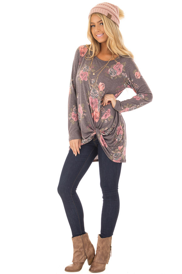 Charcoal Floral Print Long Sleeve Top with Front Twist front full body