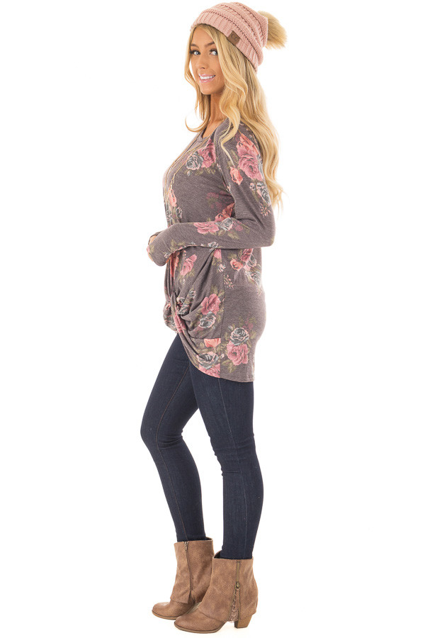 Charcoal Floral Print Long Sleeve Top with Front Twist side full body