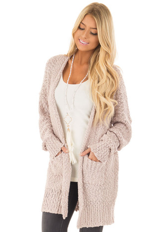 Twig Long Sleeve Open Cardigan with Front Pockets front close up