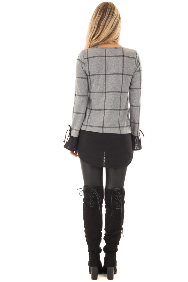 Charcoal Checkered Long Sleeve Top with Black Contrast back full body