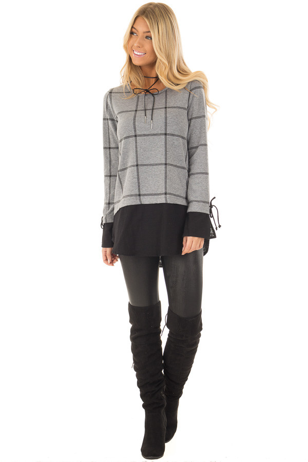 Charcoal Checkered Long Sleeve Top with Black Contrast front full body